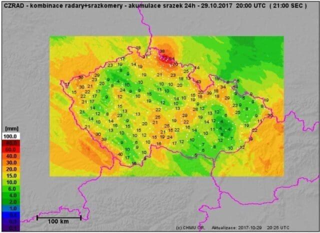 Návětrný efekt a srážkový stín. Spadlé srážky za den 29.10.2017.