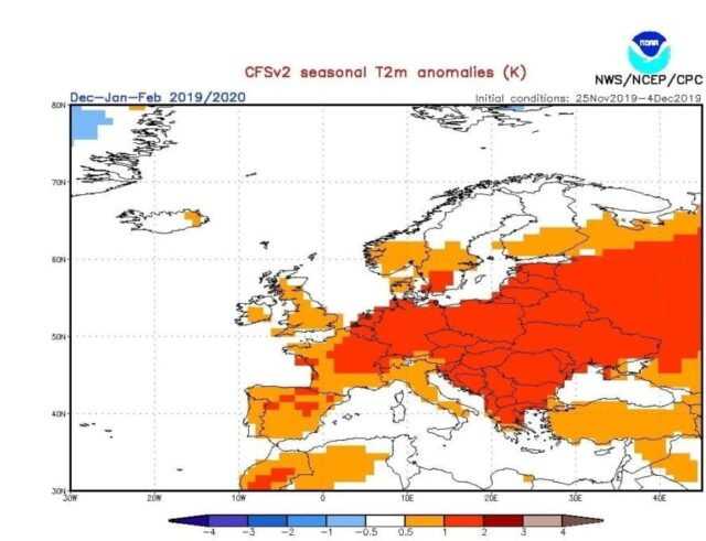 Výhled na zimu 2019/2020 (7.12.2019). Očekávané odchylky teploty - CFS.
