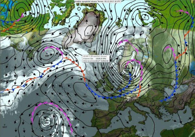 Základy čtení synoptických map. Synoptická situace 5.12.2013.