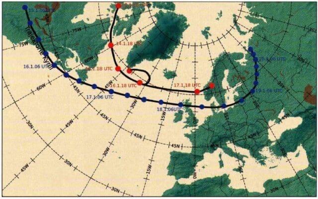 Dráha postupu níže Kyrill