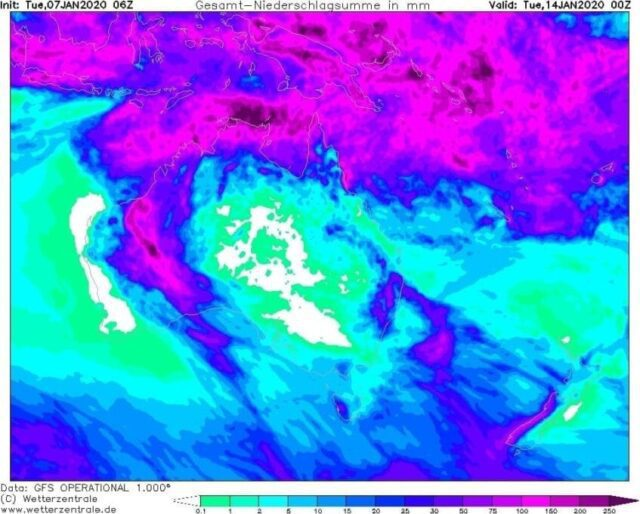 Předpověď počasí pro Austrálii. Očekávané srážky do 14.1.2020.