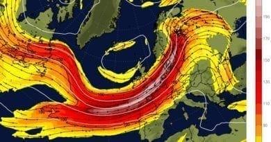 Vrátí se silný vítr. Předpověď jet streamu na 16.2.2020.