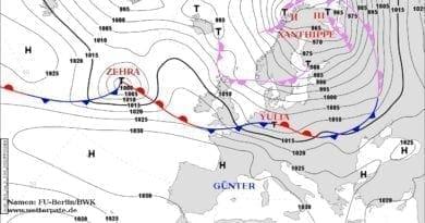 Cyklona Yulia přinese velmi silný vítr. Synoptická situace 23.2.2020.
