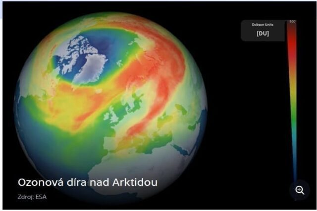 Největší ozonová díra nad Arktidou za poslední roky