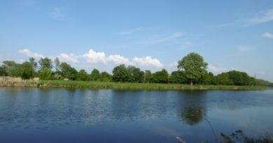 Duben, ještě tam budem. Během týdne i letní počasí. Slunečno u řeky.