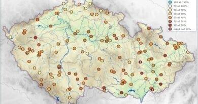 Hydrologická situace 19.5.2020. Vodnosti toků.