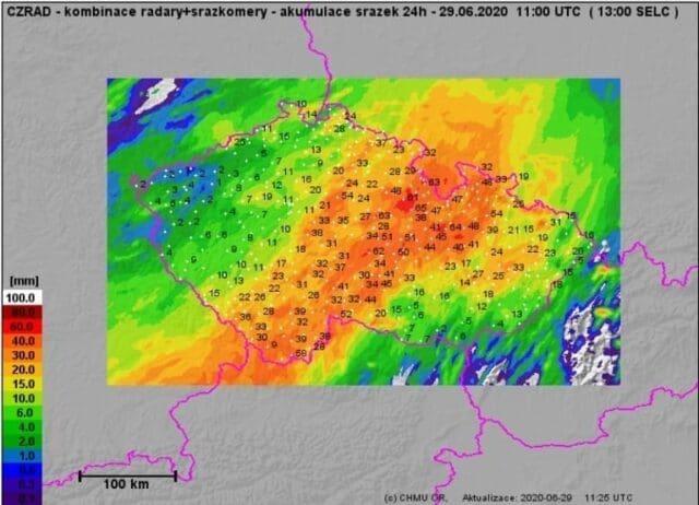 Další extrémní srážky rozvodnily toky na východě