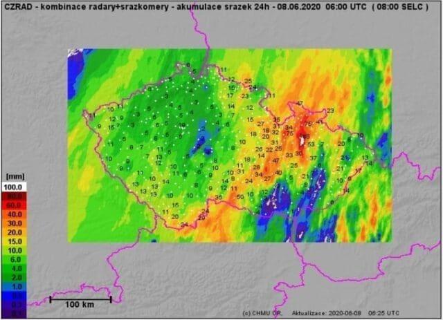 Extrémní srážky v bouřkách, spadlo až 85mm srážek