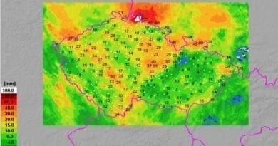 Extrémní srážky na severu, spadlo i kolem 150mm. Spadlé srážky za 24 hodin do 20.6.2020.
