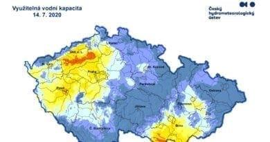 Hydrologická situace 14.7.2020. Využitelná vodní kapacita v půdě.