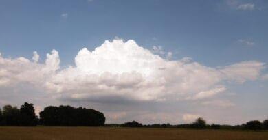 Vzdálený kupovitý oblak Cumulus. Chladnější počasí, více srážek na konci týdne.