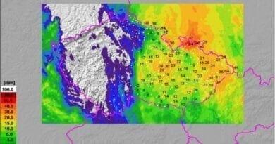 Na Moravě spadlo téměř 90mm srážek. Spadlé srážky za 24 hodin do 2.9.2020.