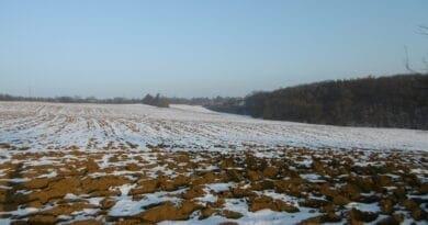 Nesouvislá sněhová pokrývka nad polem. Bude zimní počasí, ale zima nezačne