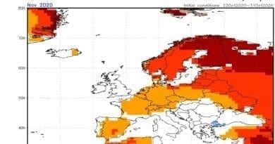 Odchylky teploty na listopad 2020, listopad 2020 bude častěji teplejší