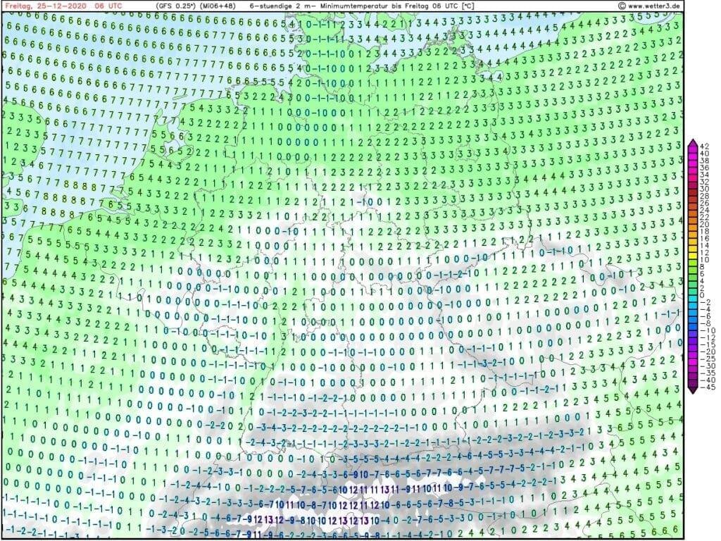 Hrozí náledí a zmrazky. Minima teploty na 25.12.2020.
