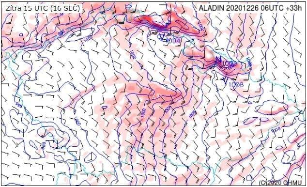 V neděli hrozí na horách orkán. Nárazy větru 27.12.2020 16h.