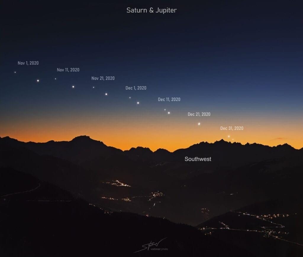 V pondělí nastane astronomický úkaz století. Konjunkce Jupiter a Saturn 21.12.2020