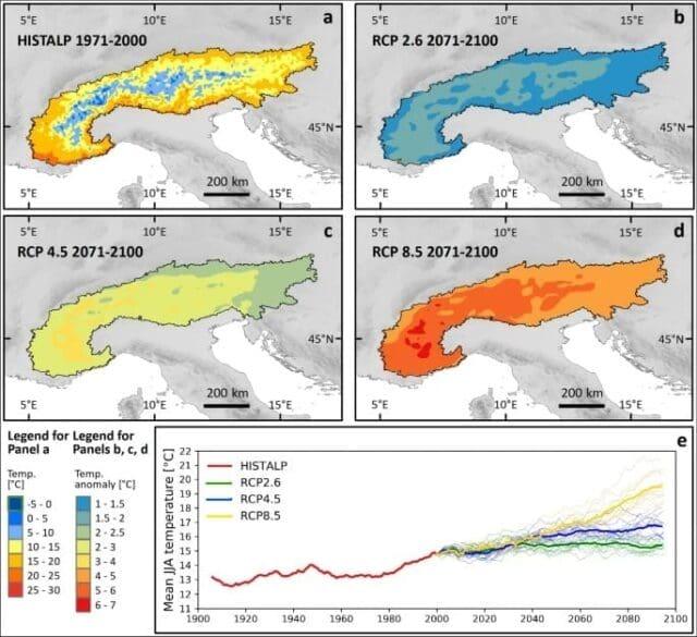 Alpy do roku 2100 roztají. Očekávané zvýšené teploty vzduchu do roku 2100.