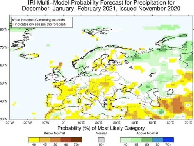 Zima 2020/2021 bude opět mírná. Odchylky srážek podle modelu IRI.