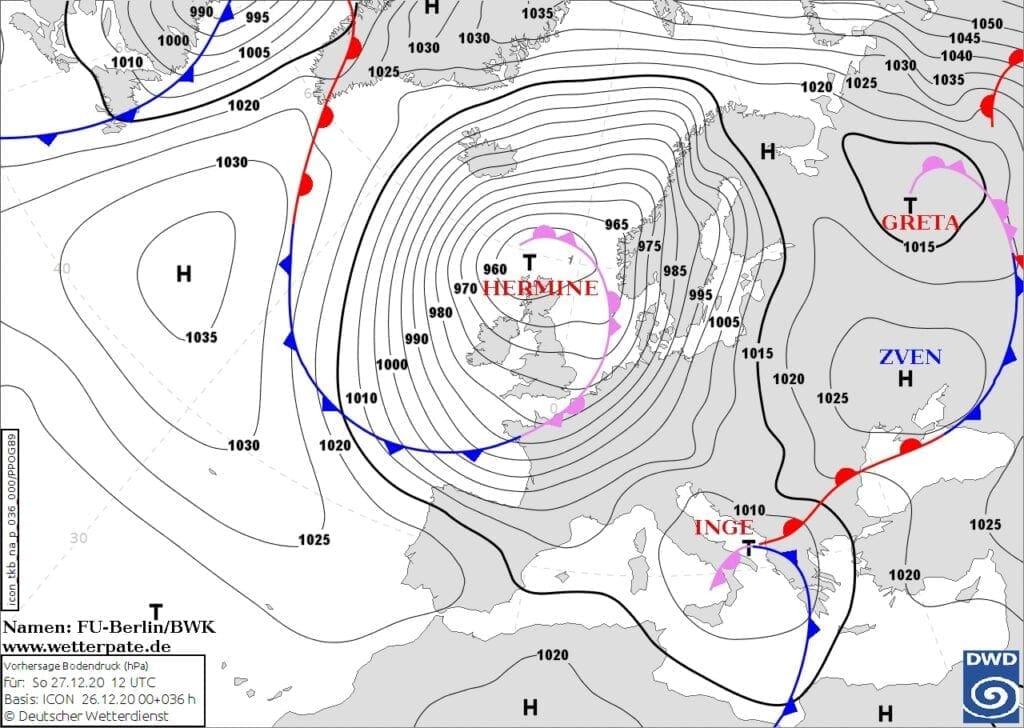 V neděli hrozí na horách orkán. Synoptická situace níže Hermine na 27.12.2020.