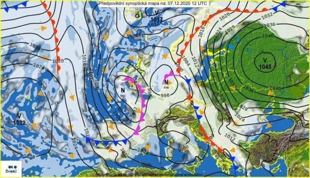 Silný vítr celý víkend. Synoptická situace 7.12.2020.