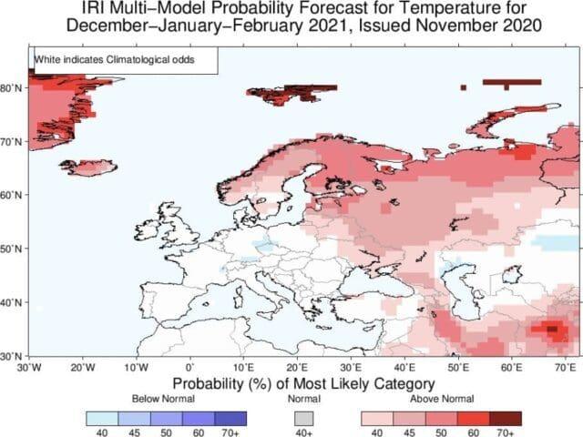 Zima 2020/2021 bude opět mírná. Teplotní odchylky podle modelu IRI.