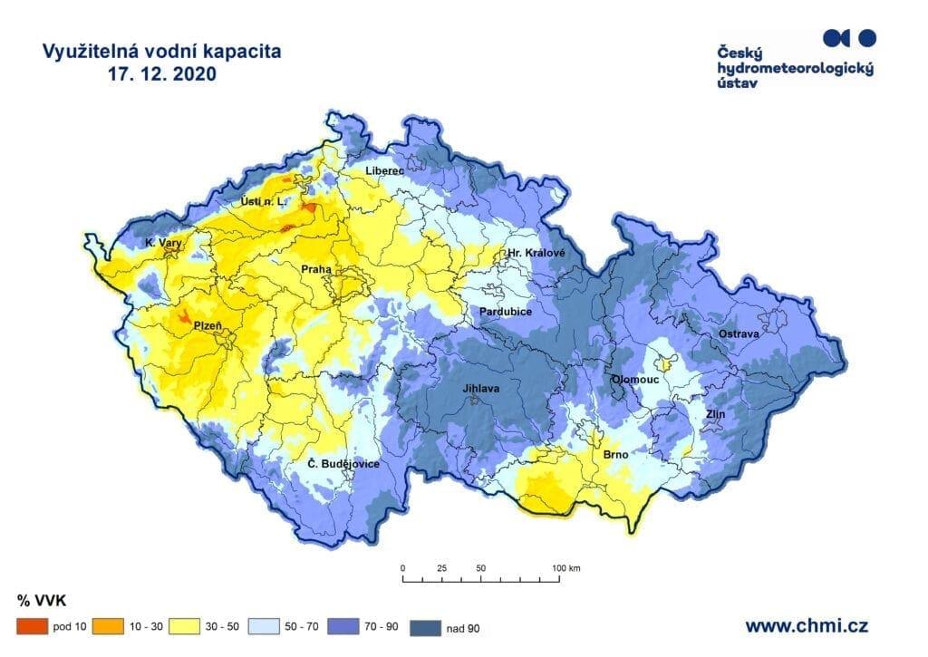 Suchý prosinec i nadále. Využitelná vodní kapacita v půdě k 17.12.2020.