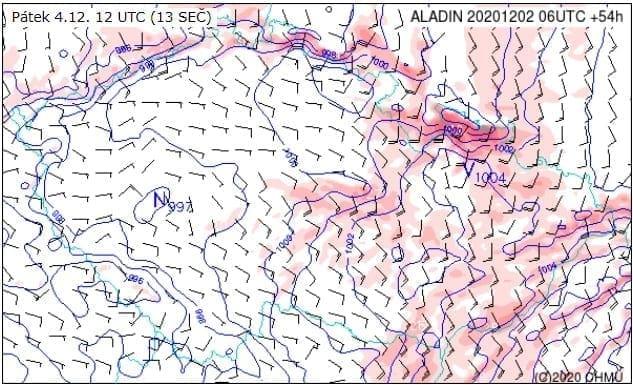 Sněžení a silný vítr na východě. Předpověď nárazů větru na 4.12.2020.