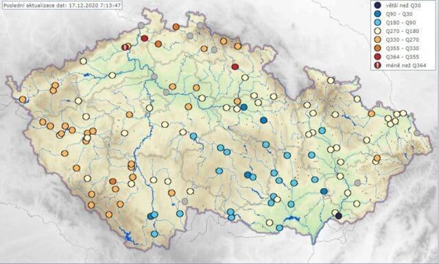 Suchý prosinec i nadále. Vodnosti toků a M-denní průtok k 17.12.2020.