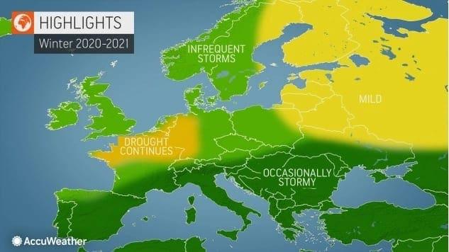 Zima 2020/2021 bude opět mírná. Předpověď převažujícího počasí podle Accuweather.