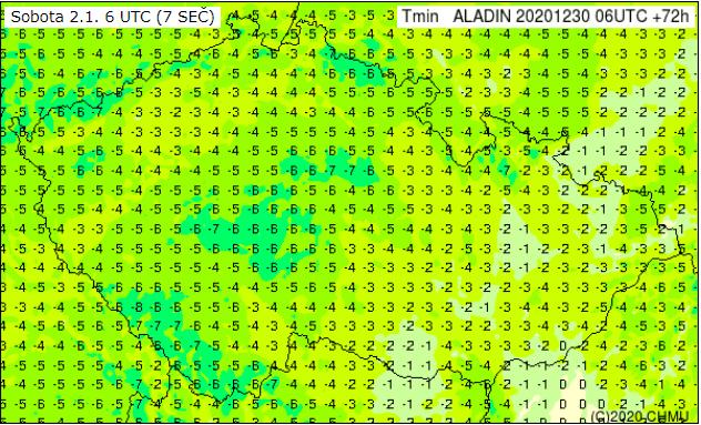 Novoroční počasí bude mrazivé. Minima teploty na 2.1.2021.