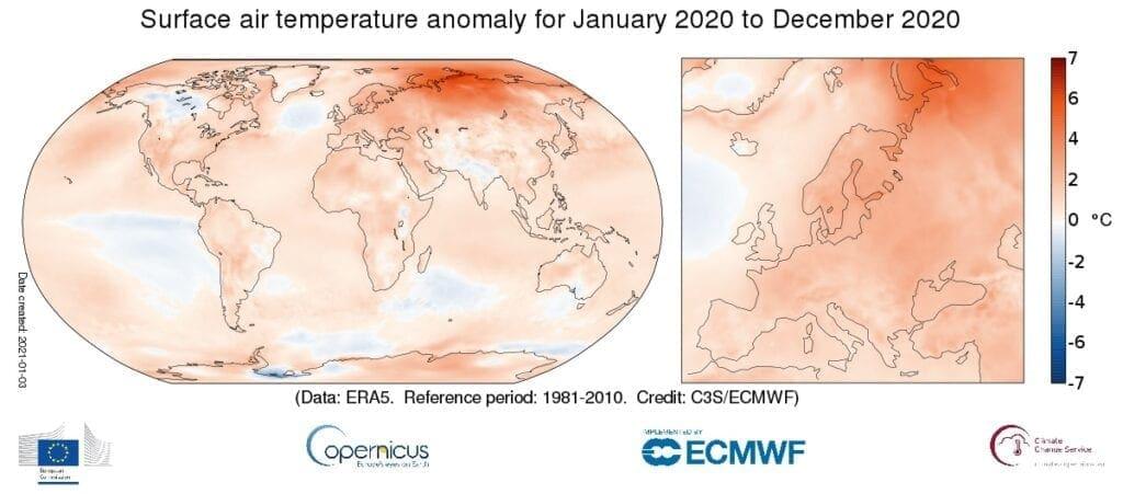 Rok 2020 byl v Evropě zatím nejteplejší. Odchylky teploty vzduchu v roce 2020.