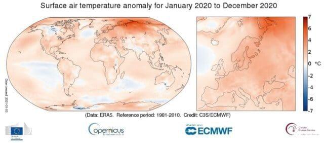 Rok 2020 byl v Evropě zatím nejteplejší