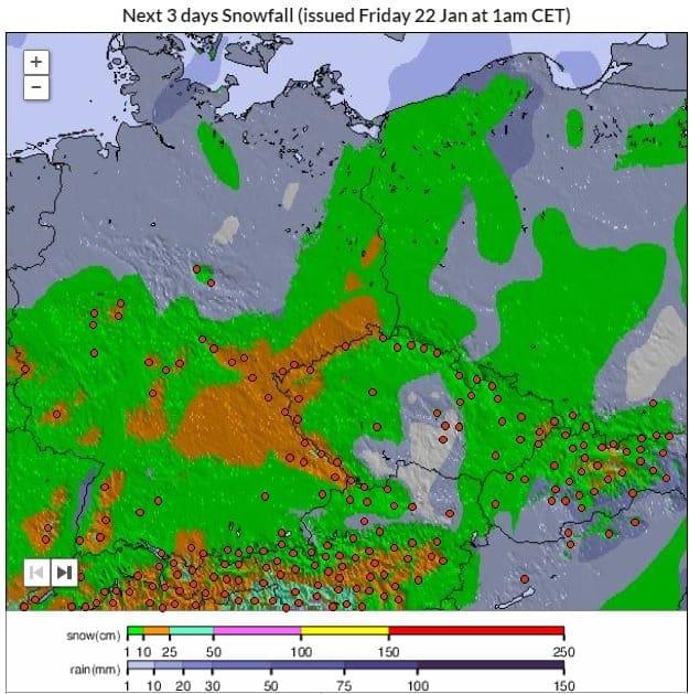 Během víkendu se vrátí zima. Předpověď spadu nového sněhu 22.-25.1.2021.