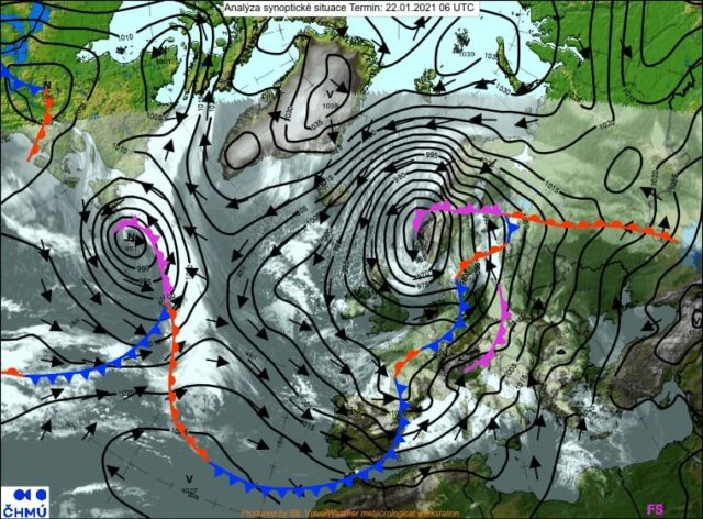 Během víkendu se vrátí zima. Synoptická analýza 22.1.2021.