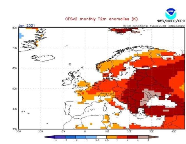 Leden 2021 bude teplejší. Odchylky teploty vzduchu.