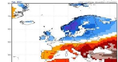 Únor 2021 bude průměrný. Předpověď odchylek teploty na únor 2021.