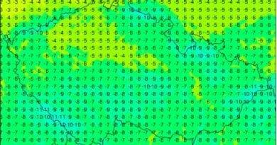 O víkendu bude i kolem -10°C. Minima teploty na 21.3.2021.