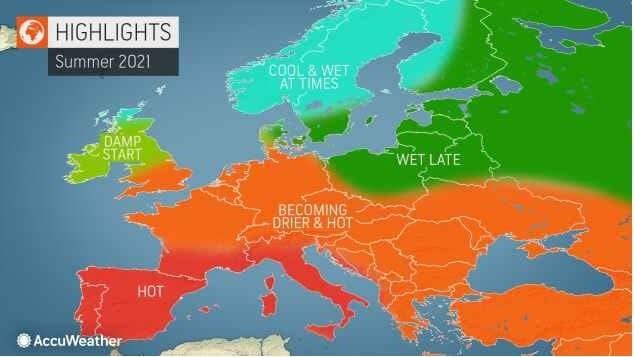 Bude léto 2021 studené? Předpověď na léto 2021 v Evropě podle Accuweather.