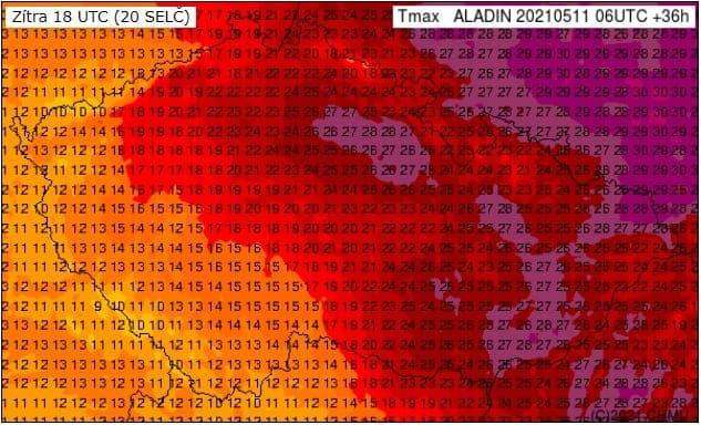 Zabouří, zaprší a léto skončí. Předpověď maxima teploty vzduchu na 12.5.2021 podle modelu Aladin.