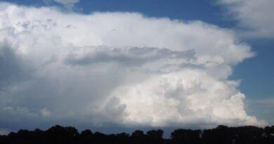 Vertikální teplotní gradient. Kde sledovat bouřky? Zpočátku týdne až tropické počasí. Letní bouřka v dálce.