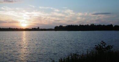 Počasí teplé, voda se prohřívá. Večer u jezera.