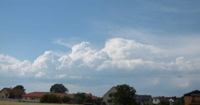 Od pátku místy bouřky. Mírně letní počasí i nadále. Letní krajina a kupovitá oblačnost.