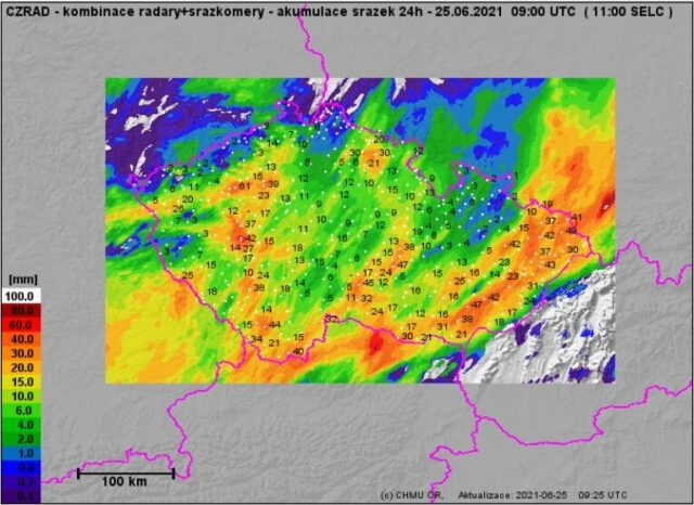 Spadlé srážky za 24h do 25.6.2021 11h.