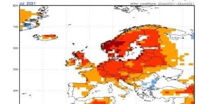 Červenec 2021 bude teplejší. Očekávané odchylky teplot vzduchu na červenec 2021.