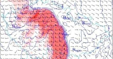 Velmi silné bouřky a ochlazení. Předpověď větru a jeho nárazy dle modelu Aladin na 29.6.2021 23h.