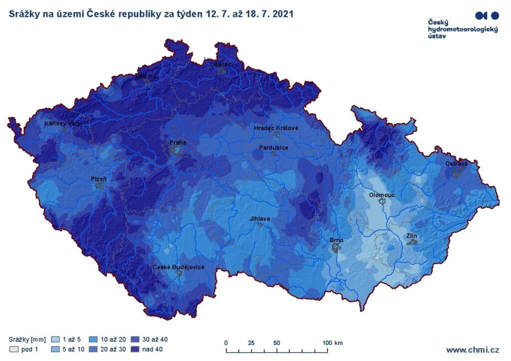 Hydrologická situace je velmi dobrá. Srážkové úhrny v ČR v týdnu 12. - 18.7.2021.