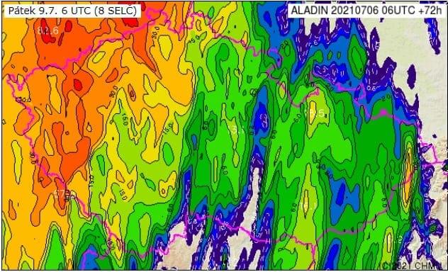 Velmi vysoká teplota a silné bouřky. Akumulace srážek na 24h do 9.7.2021 podle modelu Aladin.
