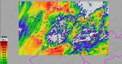 Na severu spadlo 100mm srážek. Denní úhrny srážek do 18.7.2021 8h.