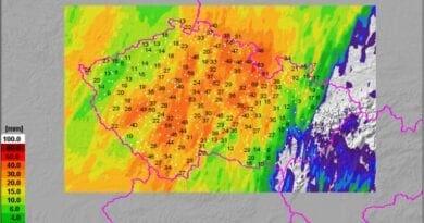 Úhrny srážek za 24h do 9.7.2021 8h.